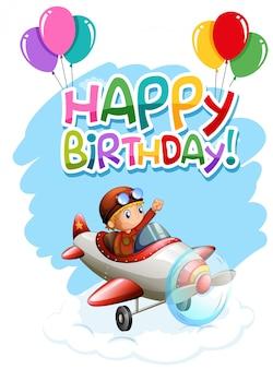 Feliz cumpleaños niño en tarjeta de avión
