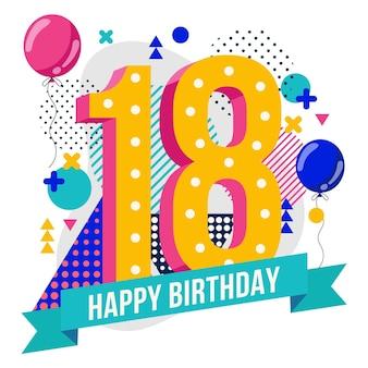 Feliz cumpleaños número 18 fondo diseño de memphis