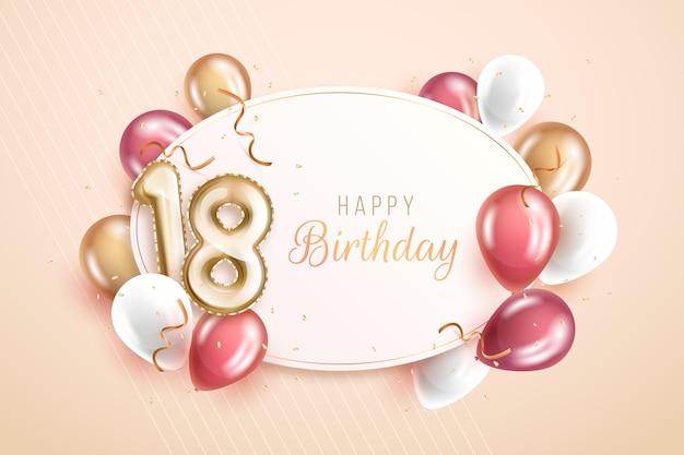 Feliz cumpleaños número 18 con globos de colores pastel