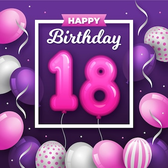 Feliz cumpleaños número 18 con globos en marco blanco