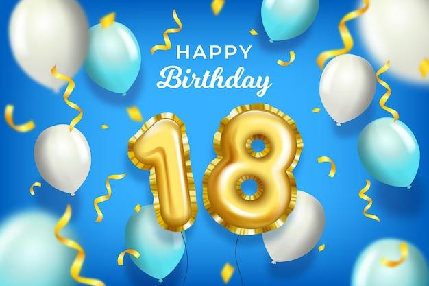 Feliz cumpleaños número 18 con globos realistas