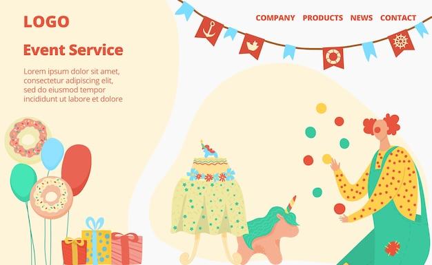 Feliz cumpleaños número de personas, letras de servicio de eventos en el sitio, invitación de vacaciones, ilustración. sorpresa para niños, servicio onlain para organizar regalos y diversión.