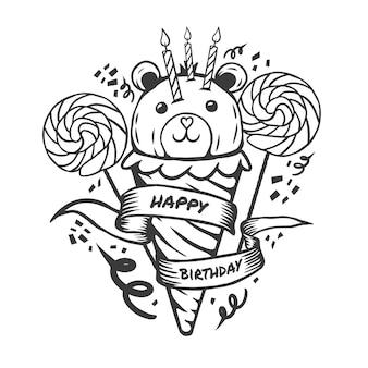 Feliz cumpleaños oso de peluche helado dibujo pastel de caramelo