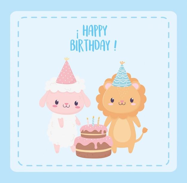 Feliz cumpleaños oveja león con sombreros de fiesta y tarjeta de decoración de celebración de pastel
