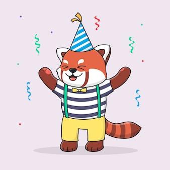 Feliz cumpleaños panda rojo con sombrero y tela linda