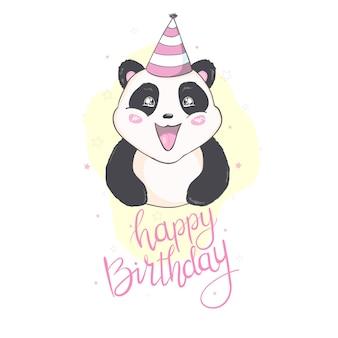 Feliz cumpleaños panda en tarjeta blanca