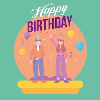 Feliz cumpleaños pareja fiesta celebración ilustración