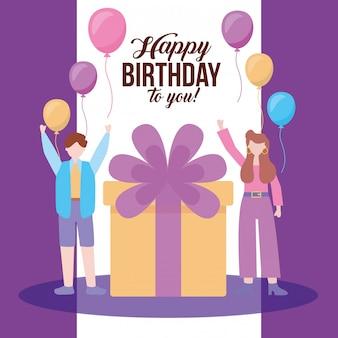 Feliz cumpleaños pareja fiesta celebración