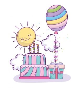 Feliz cumpleaños pastel arcoíris globo y caja de regalo celebración fiesta