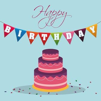Feliz cumpleaños pastel banderín decoración confeti