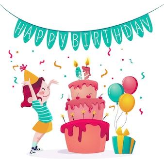 Feliz cumpleaños con pastel y confeti