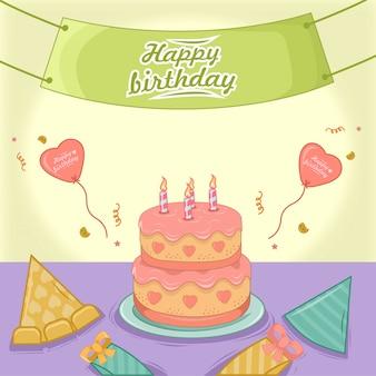 Feliz cumpleaños con pastel de cumpleaños en plato, dar, globo, póster