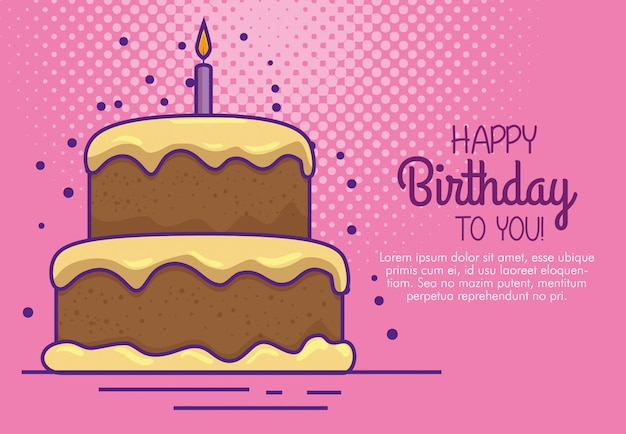 Feliz cumpleaños con pastel y decoración de velas