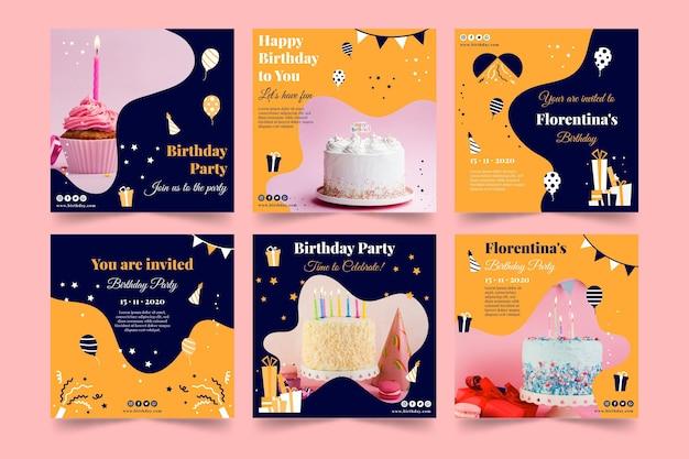 Feliz cumpleaños pastel delicioso publicación de instagram