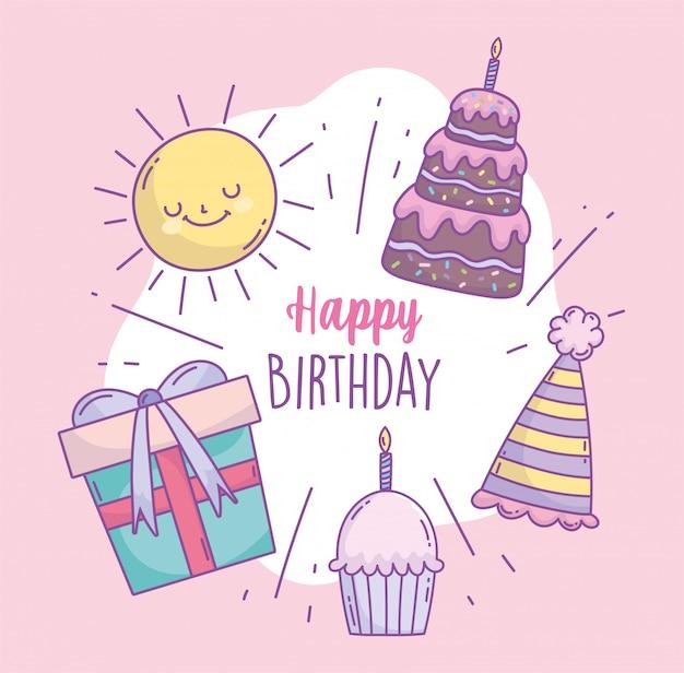 Feliz cumpleaños pastel regalo sombrero cupcake sol dibujos animados celebración fiesta