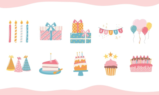 Feliz cumpleaños pastel sombrero vela cajas de regalo y globos celebración fiesta dibujos animados iconos conjunto ilustración