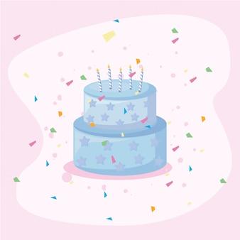 Feliz cumpleaños, pastel, tarjeta