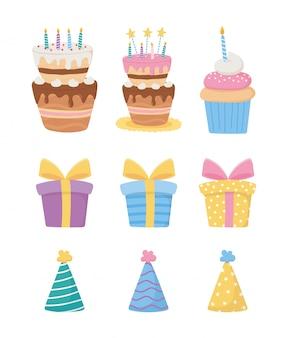 Feliz cumpleaños, pasteles con velas cajas de regalo de cupcake sombreros de fiesta decoración iconos de celebración