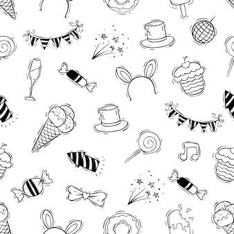 Feliz cumpleaños de patrones sin fisuras con estilo dibujado a mano