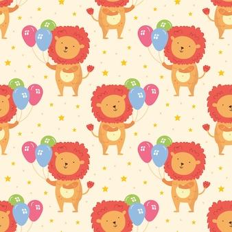 Feliz cumpleaños de patrones sin fisuras lindo animal león con globos celebración de decoración navideña