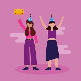 Feliz cumpleaños personas en estilo plano
