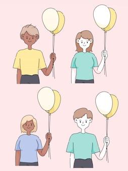 Feliz cumpleaños personas sosteniendo globo ilustración de gente linda