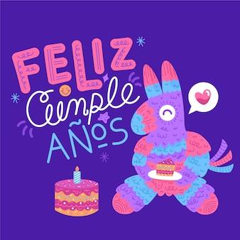 Feliz cumpleaños piñata comiendo pastel