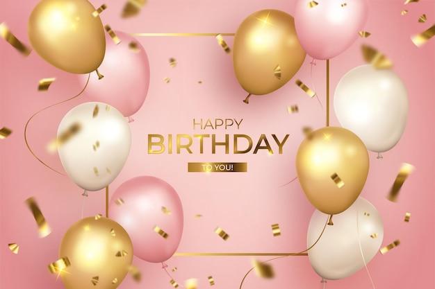 Feliz cumpleaños realista con marco dorado