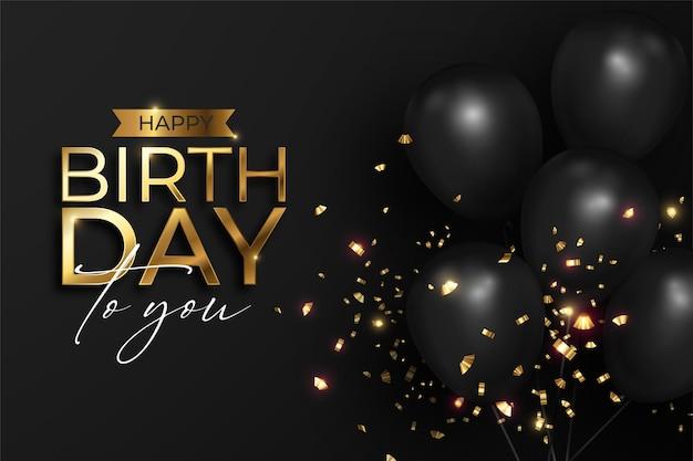 Feliz cumpleaños realista en negro y dorado.