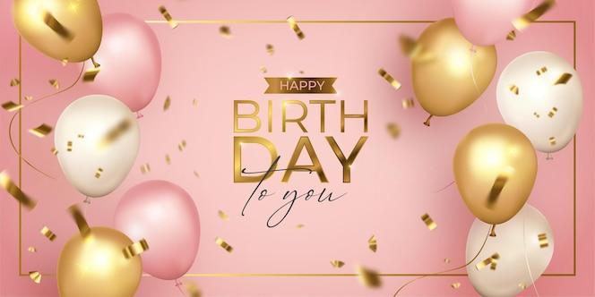 Feliz cumpleaños realista rosa, dorado y blanco