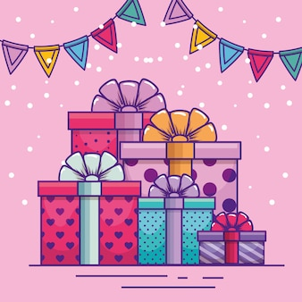 Feliz cumpleaños con regalos y decoración de banner de fiesta