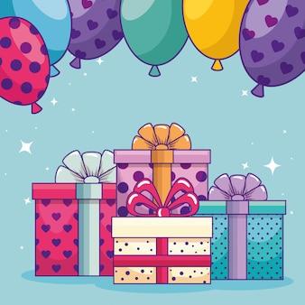 Feliz cumpleaños con regalos, regalos y globos