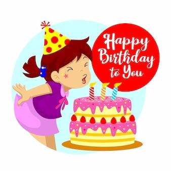 Feliz cumpleaños saludo. una niña soplando velas de cumpleaños.