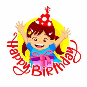 Feliz cumpleaños saludo. una sonrisa de niña