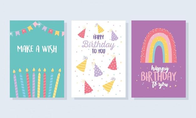Feliz cumpleaños, sombreros velas decoración del arco iris celebración tarjeta de felicitación y plantillas de invitación de fiesta
