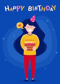 Feliz cumpleaños tarjeta de felicitación. chica sosteniendo un pastel con velas, ilustración vectorial de caracteres.