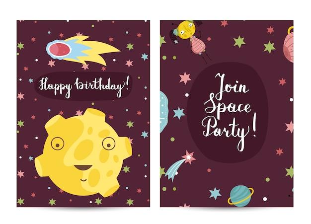 Feliz cumpleaños tarjeta de felicitación de dibujos animados