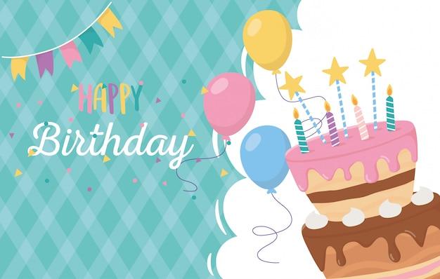 Feliz cumpleaños, tarjeta de felicitación pastel velas globos celebración