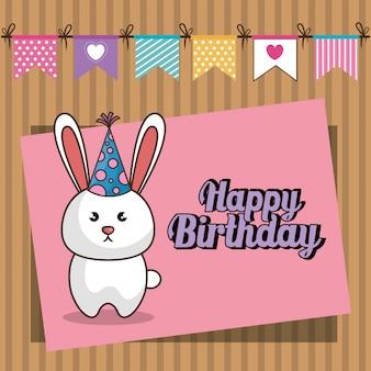 Feliz cumpleaños tarjeta con lindo conejito