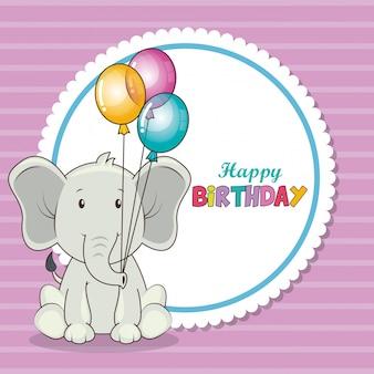 Feliz cumpleaños tarjeta con lindo elefante