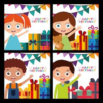 Feliz cumpleaños tarjeta con niños
