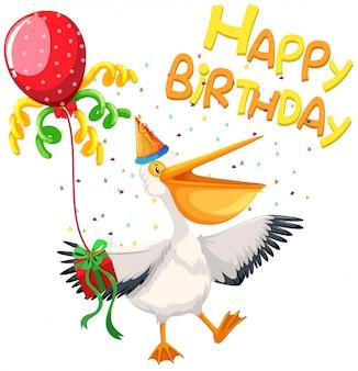 Feliz cumpleaños tarjeta pelícano