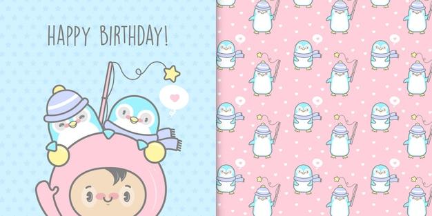 Feliz cumpleaños tarjeta de pingüinos y patrones sin fisuras