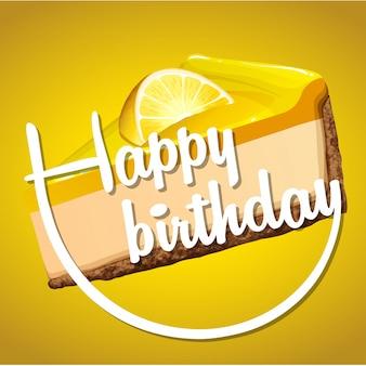 Feliz cumpleaños tarjeta de plantilla con queso de limón