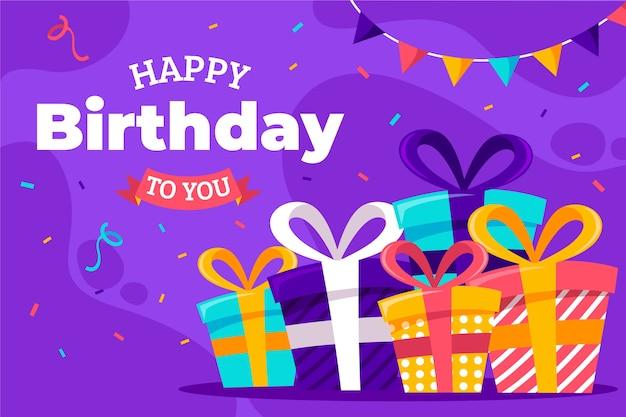 Feliz cumpleaños a ti diseño plano con cajas de regalo