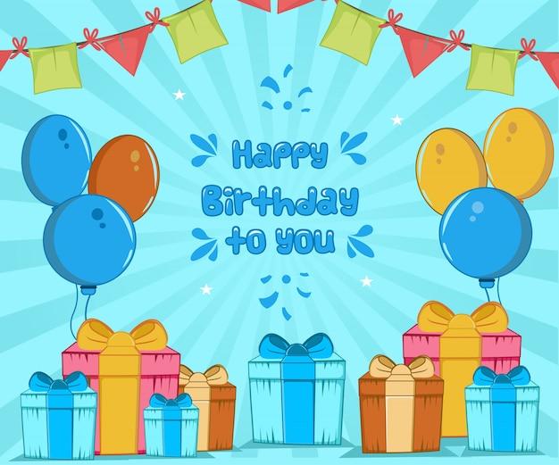 Feliz cumpleaños a ti, globo y decoración plana