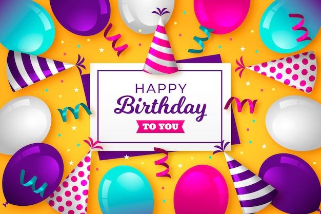 Feliz cumpleaños a ti con globos y confeti