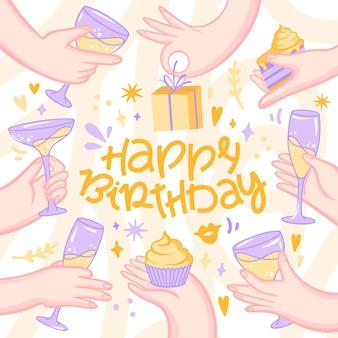 Feliz cumpleaños a ti junto a amigos