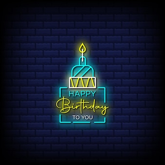 Feliz cumpleaños a ti letreros de neón estilo texto