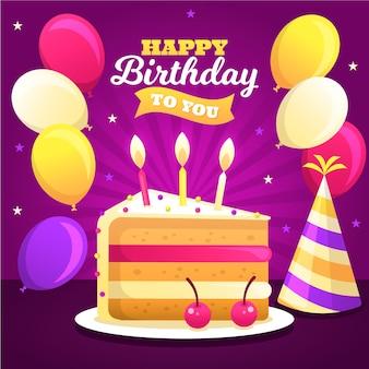 Feliz cumpleaños a ti con pastel dulce y globos